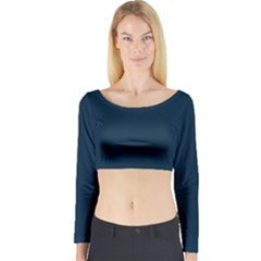 Solid Christmas Silent night Blue Long Sleeve Crop Top