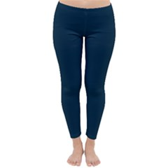 Solid Christmas Silent night Blue Classic Winter Leggings