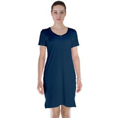 Solid Christmas Silent night Blue Short Sleeve Nightdress