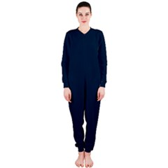 Solid Christmas Silent night Blue OnePiece Jumpsuit (Ladies)