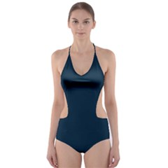 Solid Christmas Silent night Blue Cut-Out One Piece Swimsuit