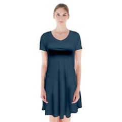 Solid Christmas Silent night Blue Short Sleeve V-neck Flare Dress