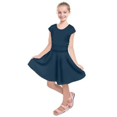 Solid Christmas Silent night Blue Kids  Short Sleeve Dress