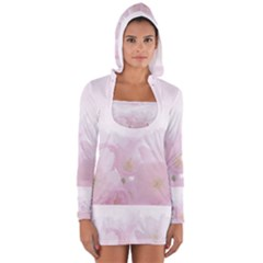 Pink Blossom Bloom Spring Romantic Women s Long Sleeve Hooded T-shirt