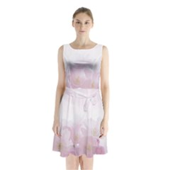 Pink Blossom Bloom Spring Romantic Sleeveless Waist Tie Chiffon Dress
