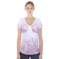 Pink Blossom Bloom Spring Romantic Short Sleeve Front Detail Top