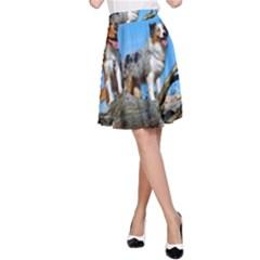 mini Australian Shepherd group A-Line Skirt
