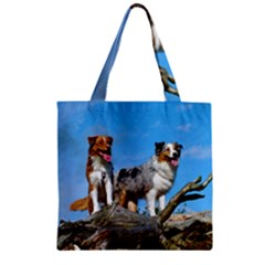 mini Australian Shepherd group Zipper Grocery Tote Bag