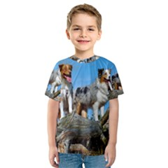 mini Australian Shepherd group Kids  Sport Mesh Tee