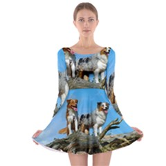 mini Australian Shepherd group Long Sleeve Skater Dress