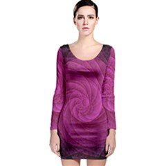 Purple Background Scrapbooking Abstract Long Sleeve Bodycon Dress