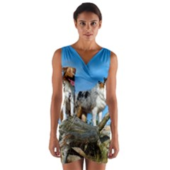 mini Australian Shepherd group Wrap Front Bodycon Dress