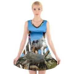 mini Australian Shepherd group V-Neck Sleeveless Skater Dress