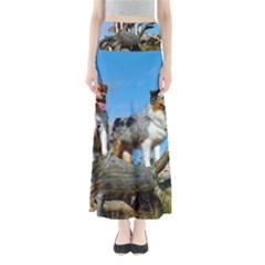 mini Australian Shepherd group Full Length Maxi Skirt