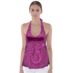 Purple Background Scrapbooking Abstract Babydoll Tankini Top