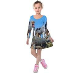 mini Australian Shepherd group Kids  Long Sleeve Velvet Dress