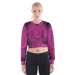 Purple Background Scrapbooking Abstract Cropped Sweatshirt