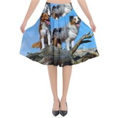 mini Australian Shepherd group Flared Midi Skirt