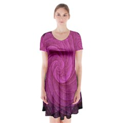 Purple Background Scrapbooking Abstract Short Sleeve V Neck Flare Dress