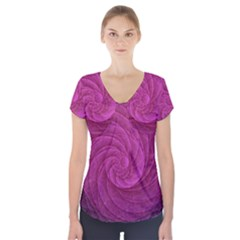 Purple Background Scrapbooking Abstract Short Sleeve Front Detail Top