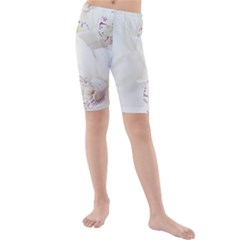 Orchids Flowers White Background Kids  Mid Length Swim Shorts
