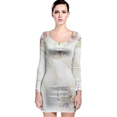 Orchids Flowers White Background Long Sleeve Bodycon Dress