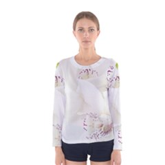 Orchids Flowers White Background Women s Long Sleeve Tee