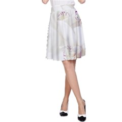 Orchids Flowers White Background A-Line Skirt