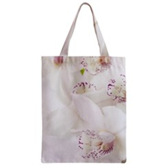Orchids Flowers White Background Zipper Classic Tote Bag