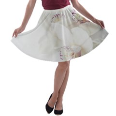 Orchids Flowers White Background A Line Skater Skirt