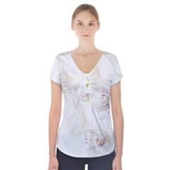 Orchids Flowers White Background Short Sleeve Front Detail Top