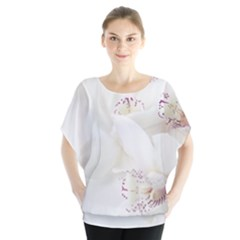 Orchids Flowers White Background Blouse