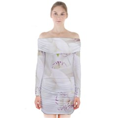 Orchids Flowers White Background Long Sleeve Off Shoulder Dress