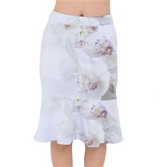 Orchids Flowers White Background Mermaid Skirt