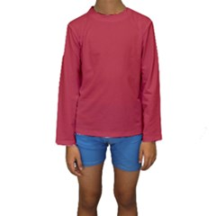 Usa Flag Red Blood Red Classic Solid Color  Kids  Long Sleeve Swimwear