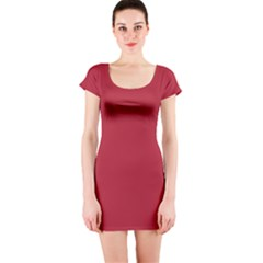 USA Flag Red Blood Red classic solid color  Short Sleeve Bodycon Dress