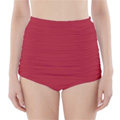USA Flag Red Blood Red classic solid color  High-Waisted Bikini Bottoms