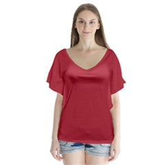 USA Flag Red Blood Red classic solid color  Flutter Sleeve Top