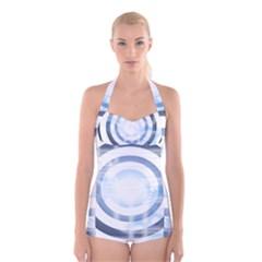 Center Centered Gears Visor Target Boyleg Halter Swimsuit