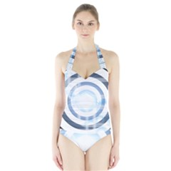 Center Centered Gears Visor Target Halter Swimsuit