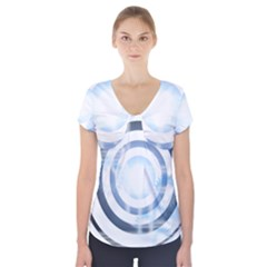 Center Centered Gears Visor Target Short Sleeve Front Detail Top