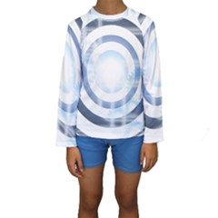 Center Centered Gears Visor Target Kids  Long Sleeve Swimwear