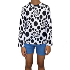 Dot Dots Round Black And White Kids  Long Sleeve Swimwear