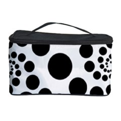 Dot Dots Round Black And White Cosmetic Storage Case
