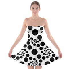 Dot Dots Round Black And White Strapless Bra Top Dress
