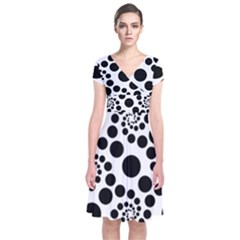 Dot Dots Round Black And White Short Sleeve Front Wrap Dress