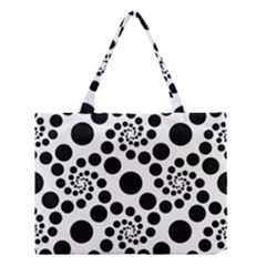 Dot Dots Round Black And White Medium Tote Bag