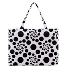 Dot Dots Round Black And White Medium Zipper Tote Bag