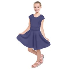 USA Flag Blue Royal Blue Deep Blue Kids  Short Sleeve Dress