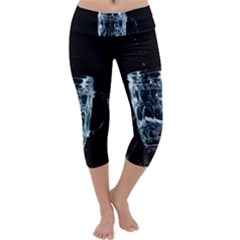 Glass Water Liquid Background Capri Yoga Leggings